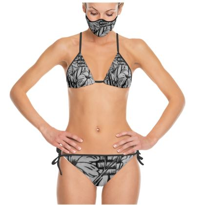 Black and White Flowers in Jamaica Bikini and Mask Set