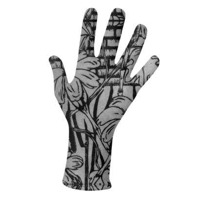 Black and White Flowers in Jamaica Glove Set