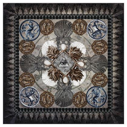 Medallion and Cross - Silk Georgette Square Scarf