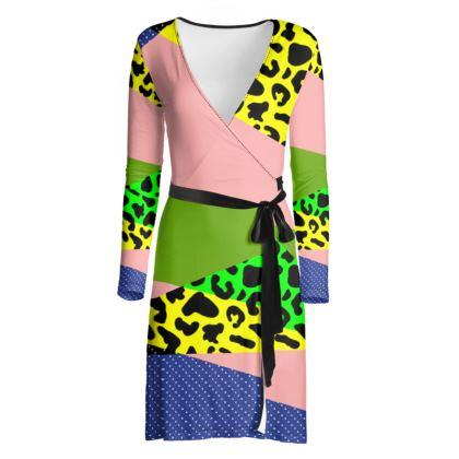 Mixed Bag Color Pop Wrap Dress