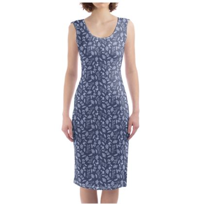 Floral Blue Midi Bodycon Dress