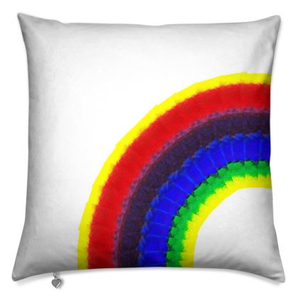 Painted rainbow cushion