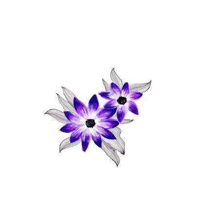 Purple and blue floral face masks