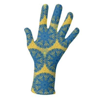 Mandala Trio (Blue/Yellow & Violet/Purple) - two pairs of luxury gloves