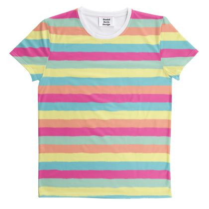 Candy Rainbow Stripes All-Over Graphic Tee