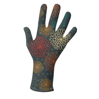 Chrysanthemum Collection (Reds, Oranges and Greens) - luxury gloves