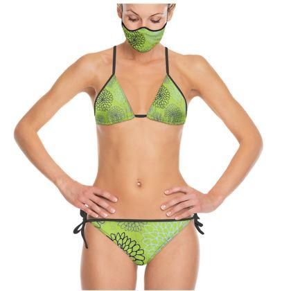 Chrysanthemum Collection (Lime) - luxury trikini