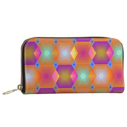 Geometrical Shapes Collection Leather Zip Purse