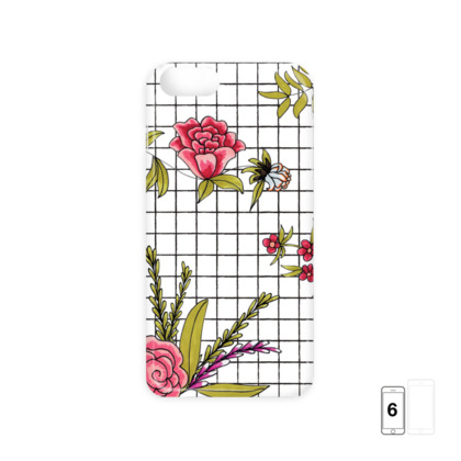 White Floral Check iPhone 6/6 Plus Case