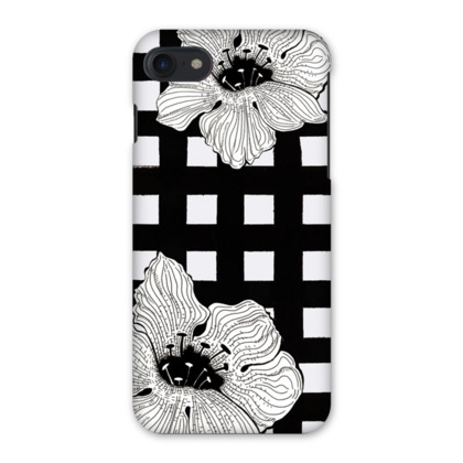 Monochrome Gingham & Floral iPhone 7 Case
