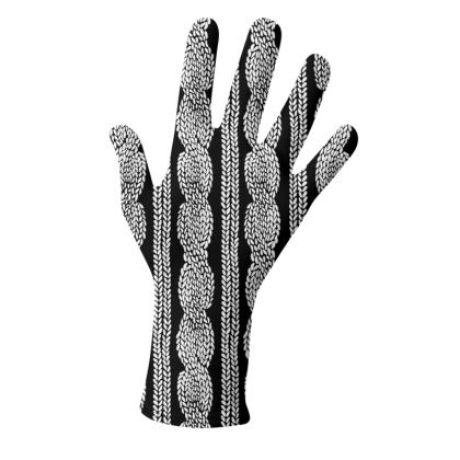 Cable Row Black and White Gloves