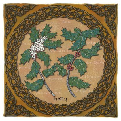 Celtic Holly Scarf, Wrap or Shawl