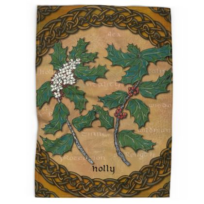 Celtic Holly Tea Towel