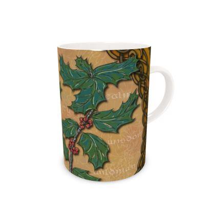 Celtic Holly Bone China Mug