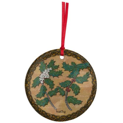 Celtic Holly Hanging Christmas Ornament