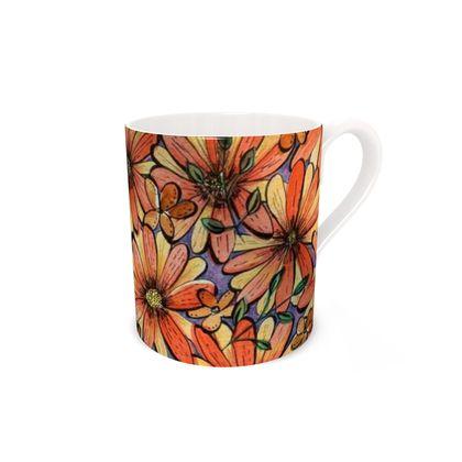 Bone China Mug, Orange Daisy