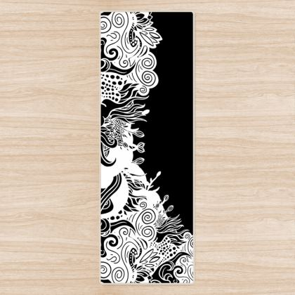 Floral Black Yoga Mat