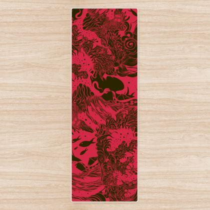 Red Dark Ocean Yoga Mat