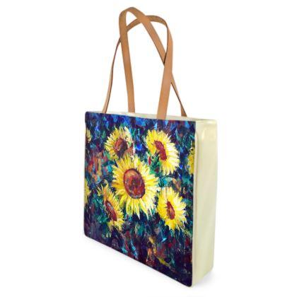 Sunflower Shoppers of Beach Bag by Alison Gargett