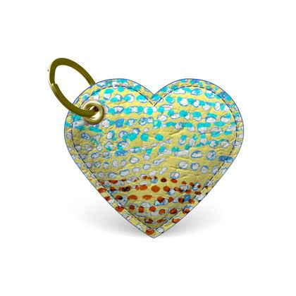 Textural Collection in beige and turquoise Premium Painted Edge Keyring