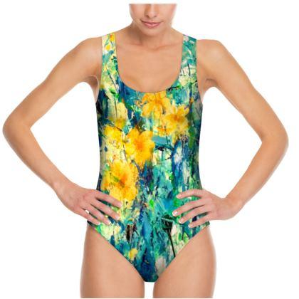 Yellow Flowers Swimsuit by Alison Gargett