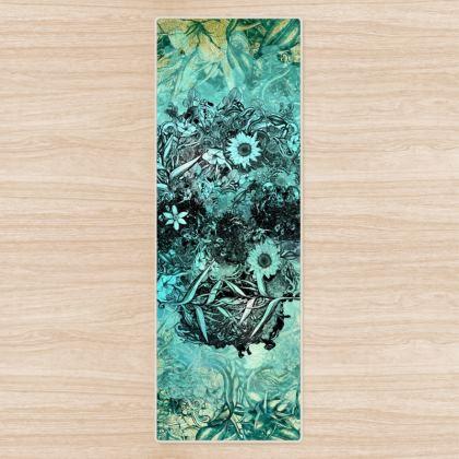 Blue Flower Skull Yoga Mat