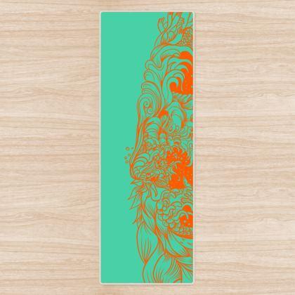 Orange Wave Yoga Mat