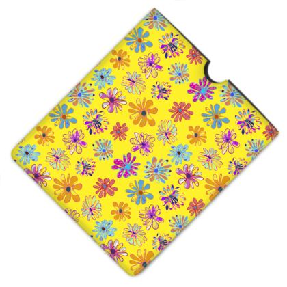 Rainbow Daisies Collection on yellow Leather IPad Case