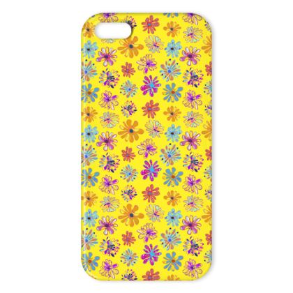 Rainbow Daisies Collection on yellow IPhone Cases
