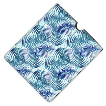 Tropical Garden in Blue Leather IPad Case