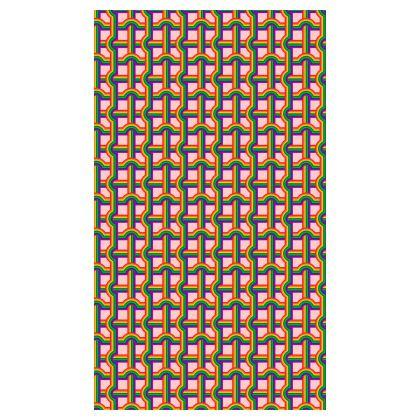 PINK RAINBOW GRID PATTERN BEACH TOWEL