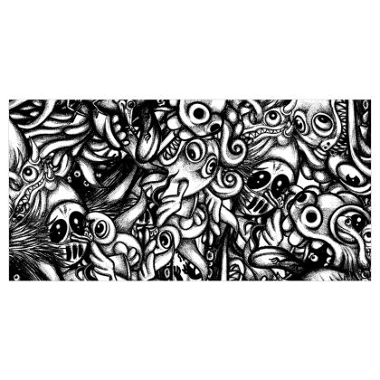 Doodles bw Voile Curtains