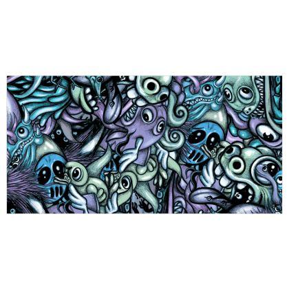 Blue Doodles Voile Curtains