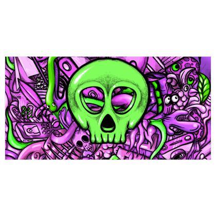 Green Skull Voile Curtains