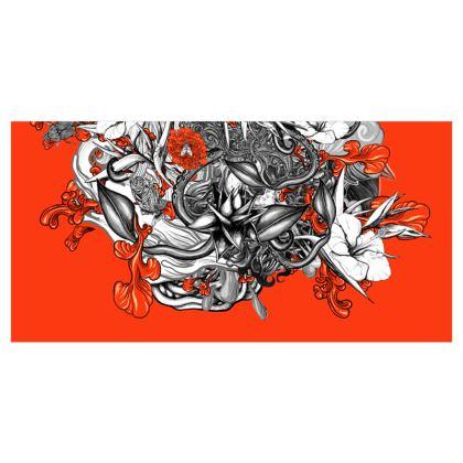 Floral Orange Voile Curtains