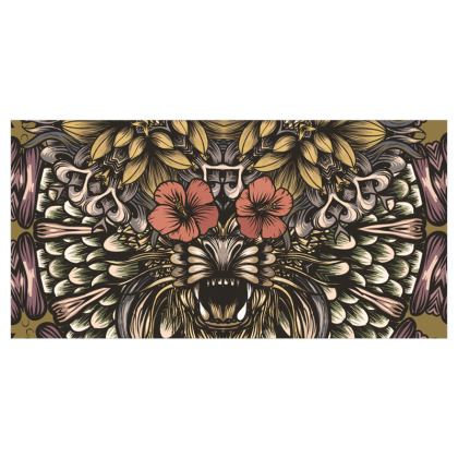 Tiger and flowers Voile Curtains