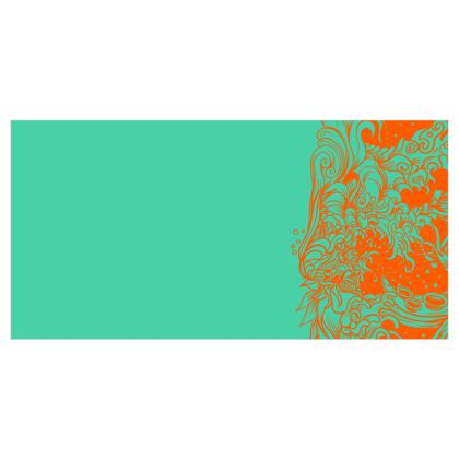 Wave Blue and Orange Voile Curtains