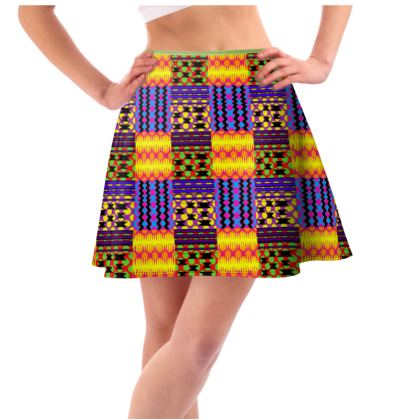 Neon Party Kente Flared Skirt