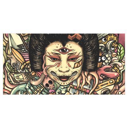 Geisha Doodles Flat Curtains