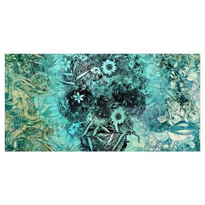 Blue Floral Skull Curtains