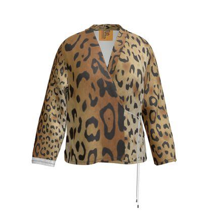Luscious Leopard Velour Wrap Blazer