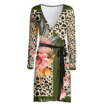 Jungle Scarf Print Wrap Dress