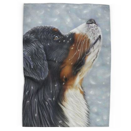 Bernese Mountain Dog Tea Towel - Blissful Blue