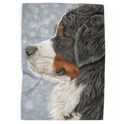 Bernese Mountain Dog Tea Towel - Let It Snow