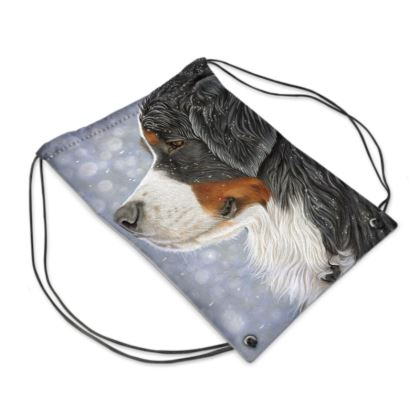 Bernese Mountain Dog Drawstring PE Bag - Let It Snow