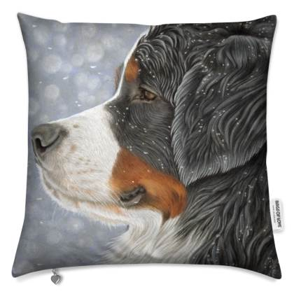 Bernese Mountain Dog Cushion - Let It Snow