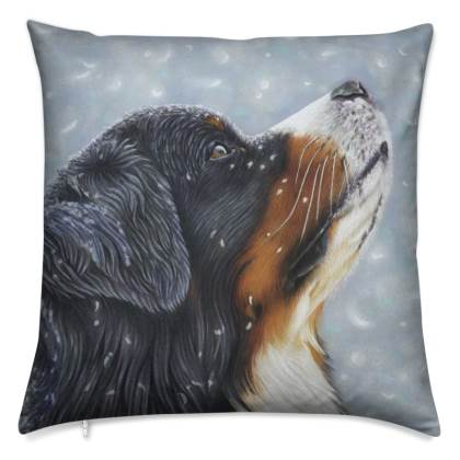 Bernese Mountain Dog Cushion - Blissful Blue