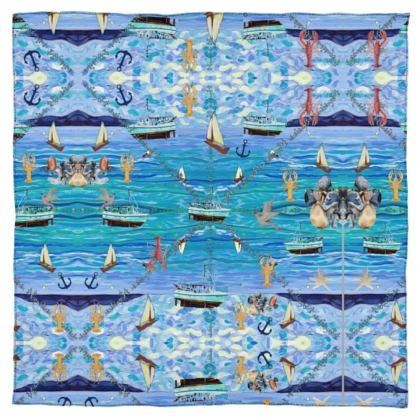 reines Seidentuch Satin 115 x 115 cm maritimes Design