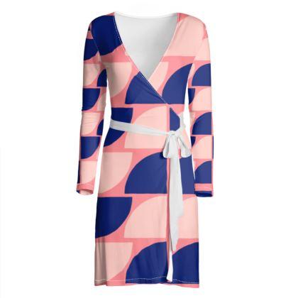 OSHO Wrap Dress - Bold Pink & Blue