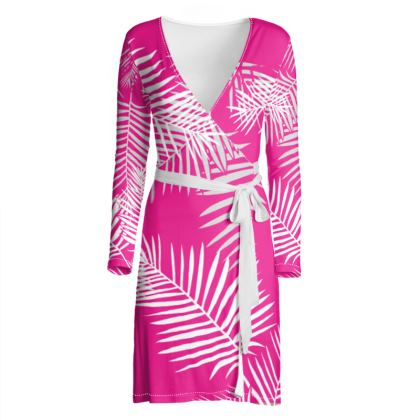 OSHO Wrap Dress -Pink Leaf